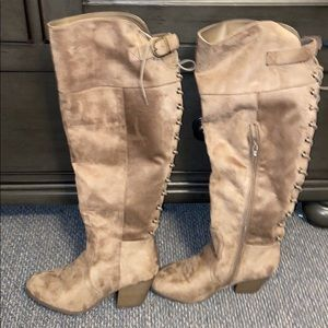 Charlotte Russe knee high tan boots with tie back